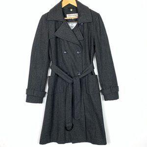 Steve Madden Dark Gray Wool Long Trench Coat Large